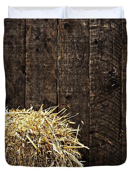 Bale Of Straw And Wooden Background Duvet Cover