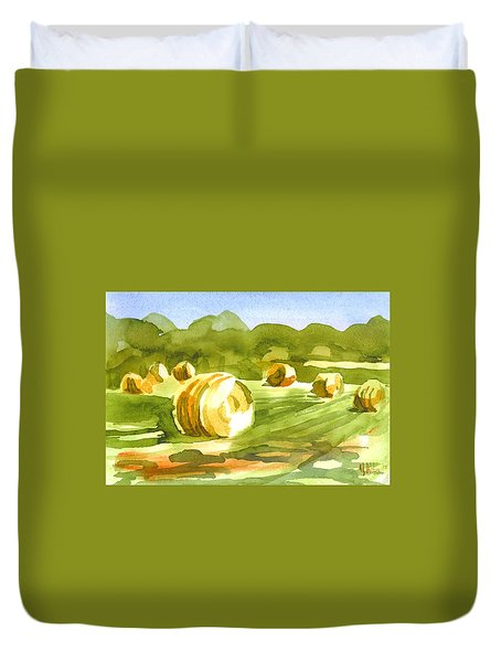Bales In The Morning Sun Duvet Cover by Kip DeVore