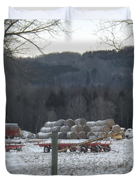 Duvet Cover featuring the photograph Bales Of Hay by Brenda Brown