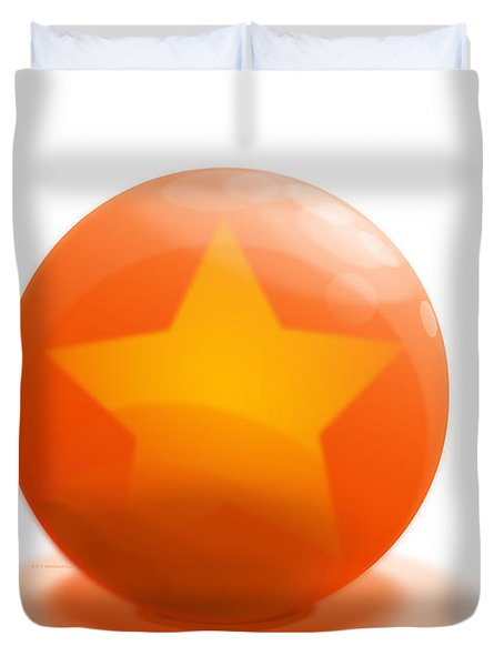 Duvet Cover featuring the sculpture orange Ball decorated with star white background by R Muirhead Art