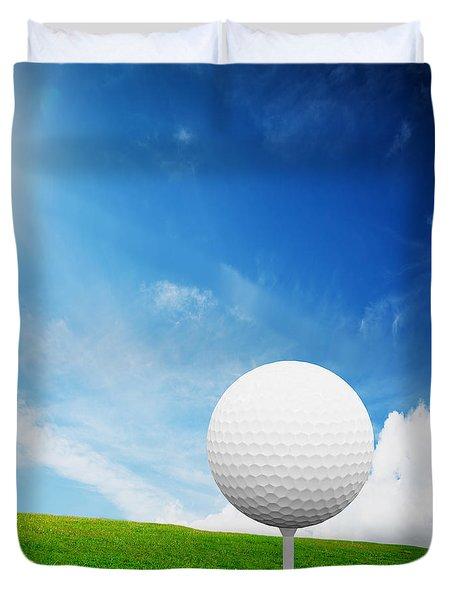 Ball On Tee On Green Golf Field Duvet Cover