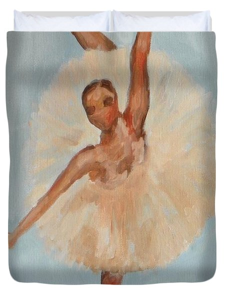 Duvet Cover featuring the painting Ballerina by Marisela Mungia