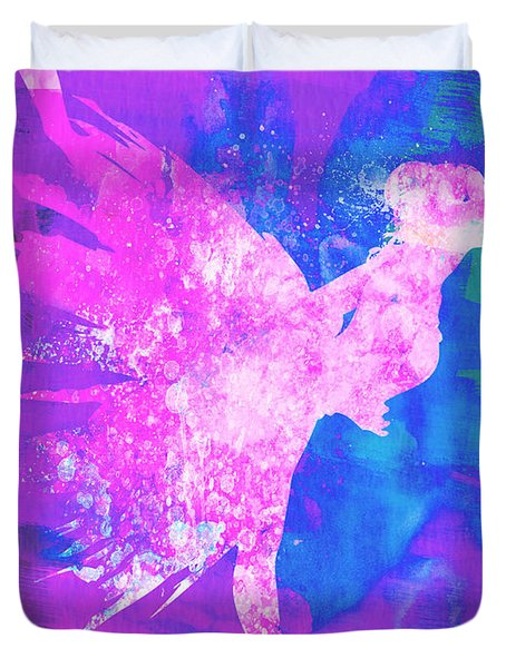 Ballerina On Stage Watercolor 1 Duvet Cover by Naxart Studio