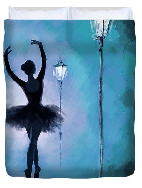 Ballet In The Night  Duvet Cover