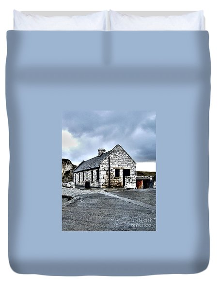 Ballintoy Stone House Duvet Cover by Nina Ficur Feenan