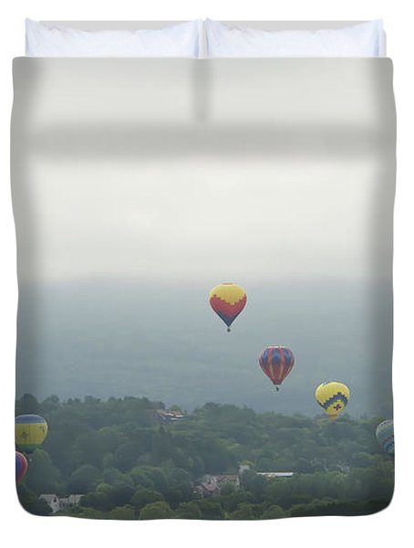 Balloon Rise Over Quechee Vermont Duvet Cover