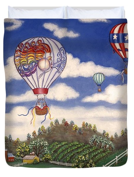 Ballooning Over The Country Duvet Cover by Linda Mears