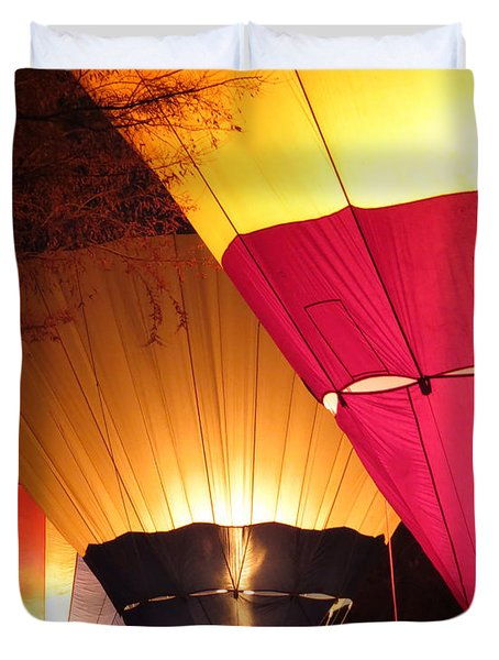 Balloons At Night Duvet Cover by Laurel Powell