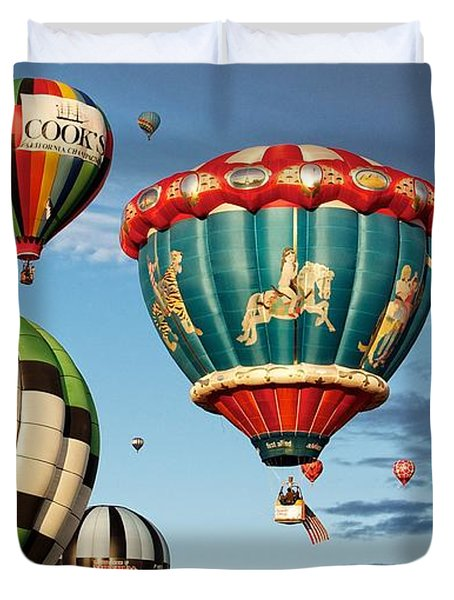 Duvet Cover featuring the photograph Balloons Away by Dave Files