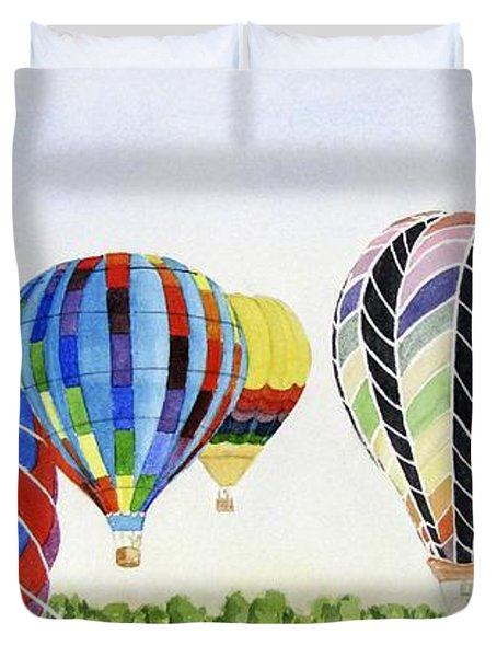 Duvet Cover featuring the painting Balloons by Carol Flagg