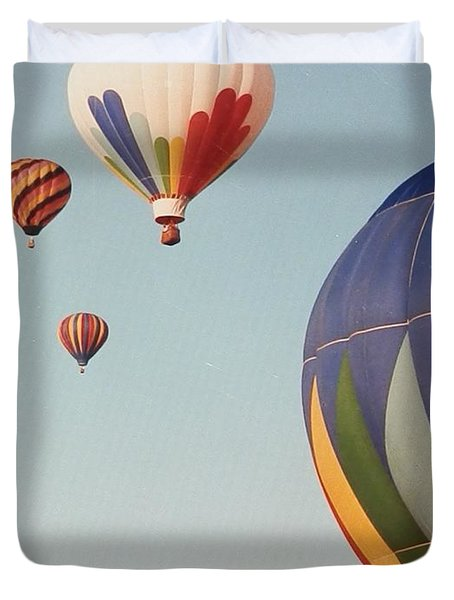 Duvet Cover featuring the photograph Balloons High In The Sky by Belinda Lee