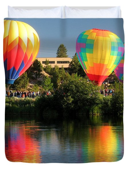 Duvet Cover featuring the photograph Balloons Over Bend Oregon by Kevin Desrosiers