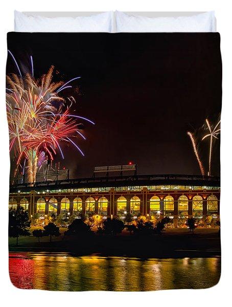 Ballpark Fireworks Duvet Cover