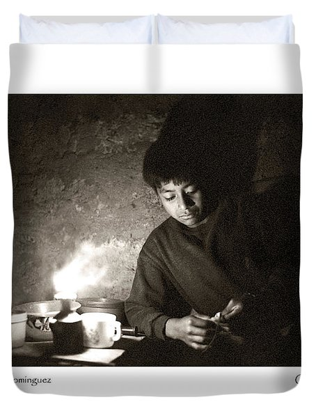 Duvet Cover featuring the photograph Baltazar Reading by Tina Manley
