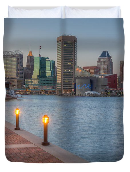 Baltimore Skyline At Twilight I Duvet Cover