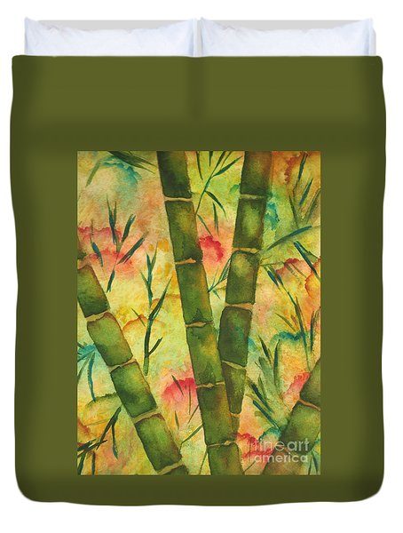 Duvet Cover featuring the painting Bamboo Garden by Chrisann Ellis