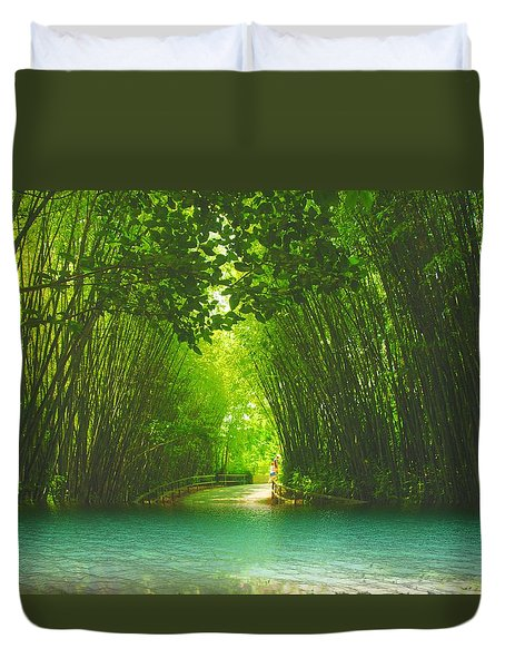 bamboo path to  Blue Lagoon  Duvet Cover by Dennis Baswell