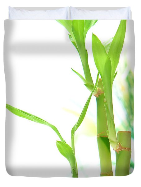 Bamboo Stems And Leaves Duvet Cover