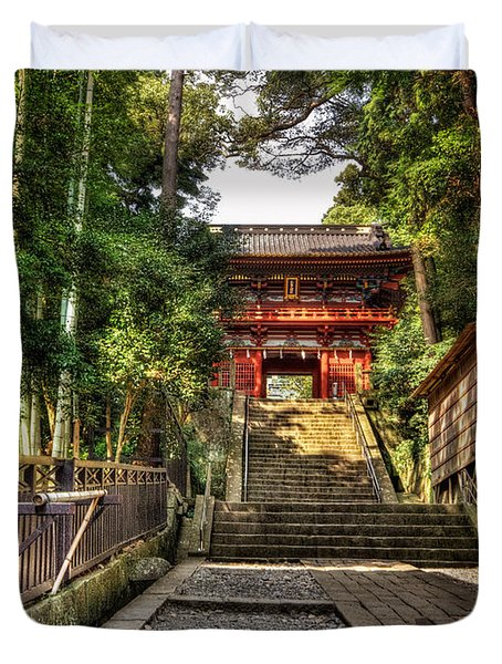 Duvet Cover featuring the photograph Bamboo Temple by John Swartz