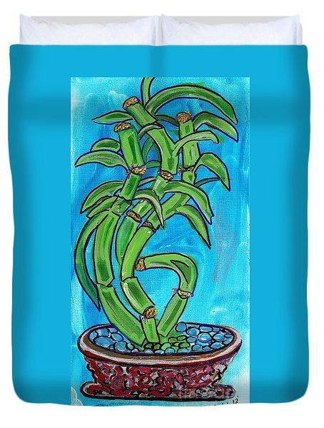 Duvet Cover featuring the painting Bamboo Twist by Ecinja Art Works
