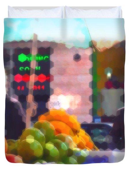 Duvet Cover featuring the photograph Banana - Street Vendors Of New York City by Miriam Danar