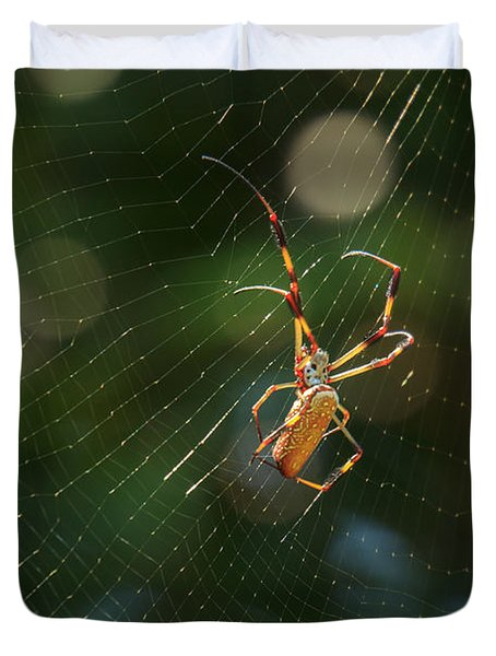 Banana Spider In Web Duvet Cover