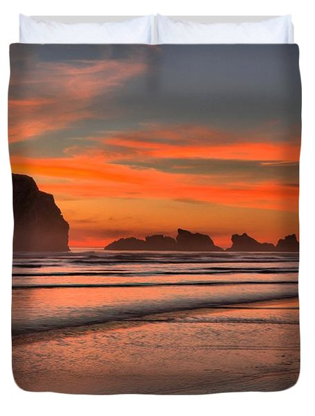 Bandon Sunset And Surf Duvet Cover by Adam Jewell