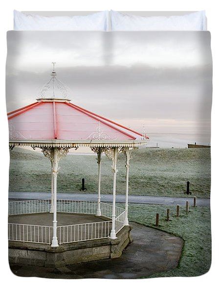 Duvet Cover featuring the photograph Bandstand In Winter by Jeremy Voisey