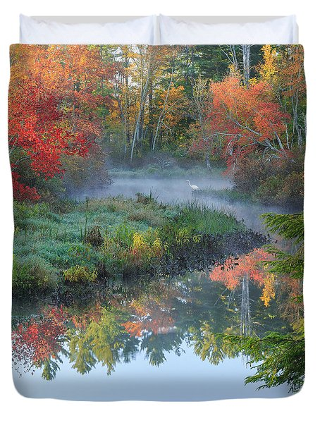 Bantam River Autumn Square Duvet Cover by Bill Wakeley