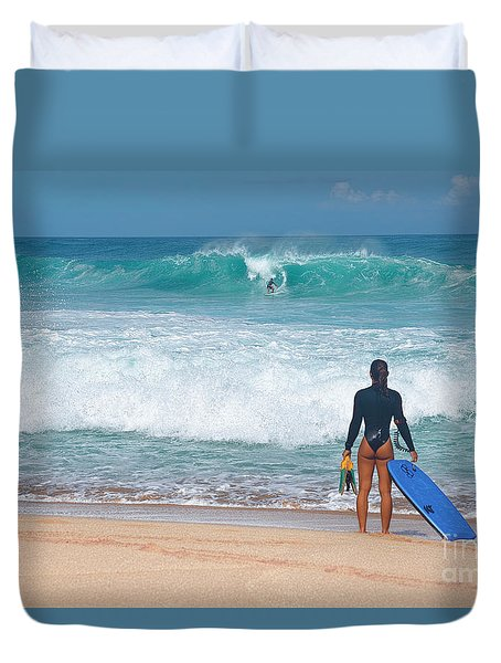 Duvet Cover featuring the photograph Banzai Pipeline Aqua Dream by Aloha Art