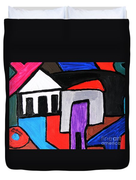 Duvet Cover featuring the painting Baoma Kpengeh by Mudiama Kammoh