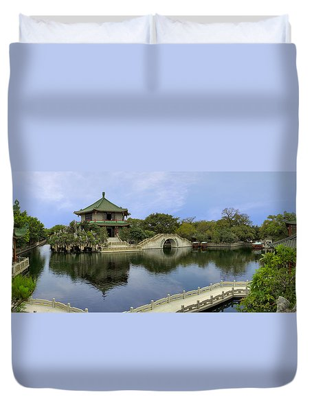 Baomo Garden Temple Duvet Cover by Nicola Nobile