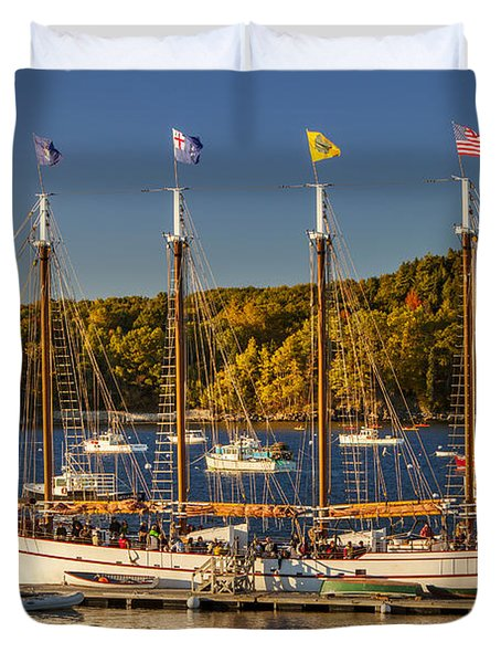 Bar Harbor Schooner Duvet Cover by Brian Jannsen