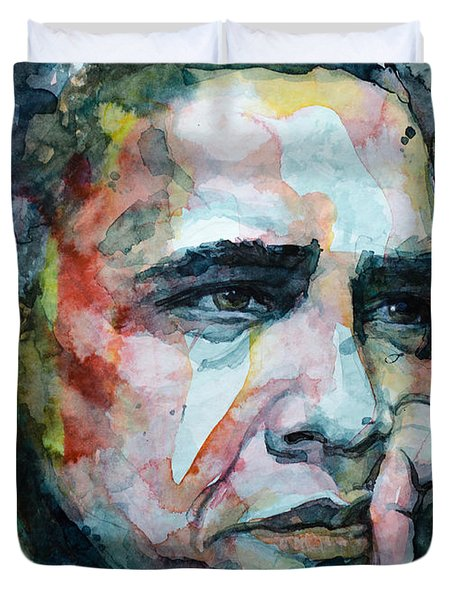 Duvet Cover featuring the painting Barack by Laur Iduc