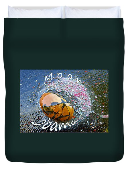 Barack Obama Moon Duvet Cover by Augusta Stylianou