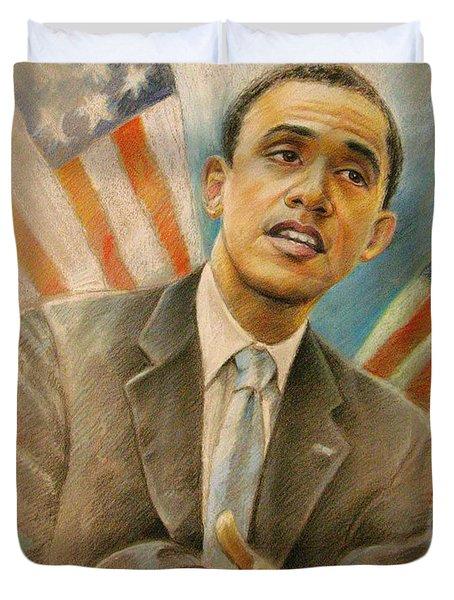 Barack Obama Taking It Easy Duvet Cover by Miki De Goodaboom