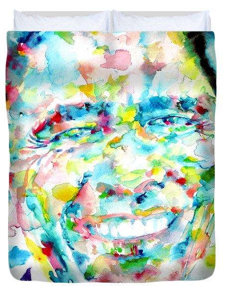 Barack Obama - Watercolor Portrait Duvet Cover