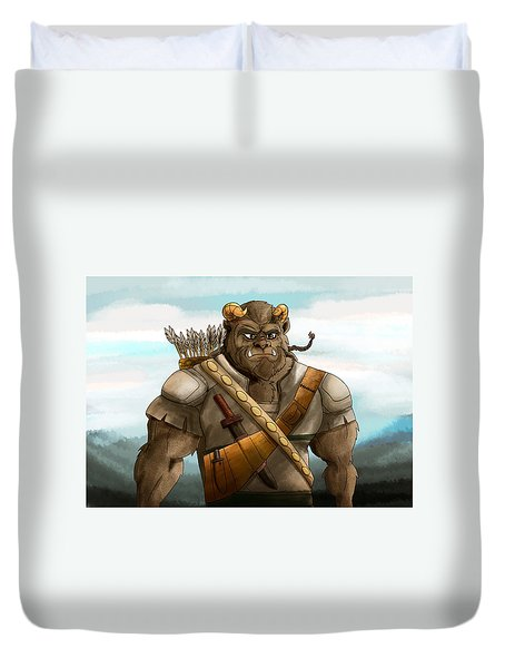 Duvet Cover featuring the painting Baragh The Hoargg Warrior by Reynold Jay