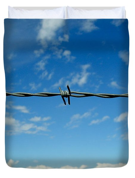 Duvet Cover featuring the photograph Barbed Sky by Nina Ficur Feenan