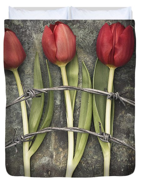 Barbed Wire And Tulip Duvet Cover