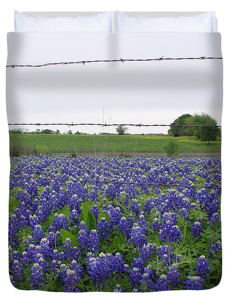 Duvet Cover featuring the photograph Barbed Wire Bluebonnets by Jerry Bunger