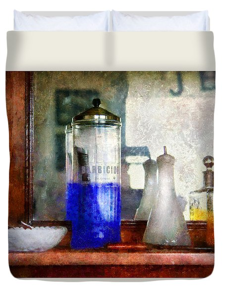 Barber - Blueberry Flavored Thanks For Asking Duvet Cover by Mike Savad