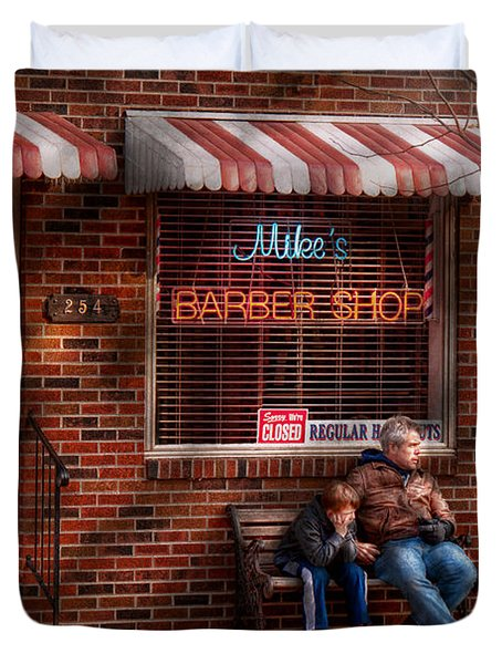 Barber - Metuchen Nj - Waiting For Mike Duvet Cover by Mike Savad