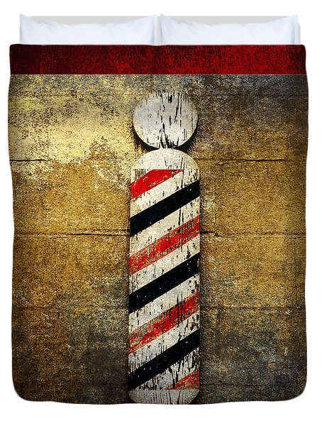 Barber Pole Square Duvet Cover by Andee Design