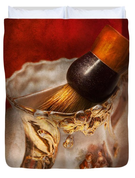 Barber - Shaving - The Beauty Of Barbering Duvet Cover by Mike Savad