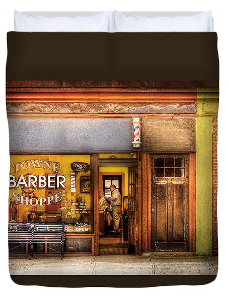 Barber - Towne Barber Shop Duvet Cover