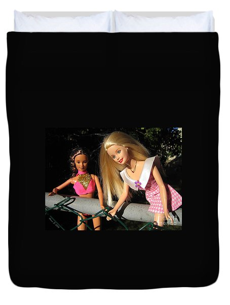 Duvet Cover featuring the photograph Barbie Escapes by Nina Silver