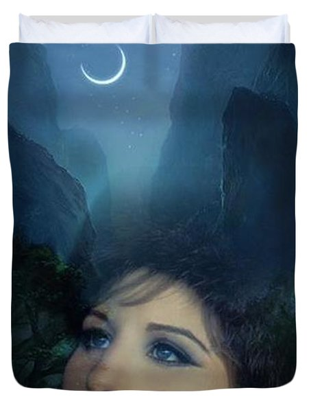 Barbra's Smiling Moon Duvet Cover