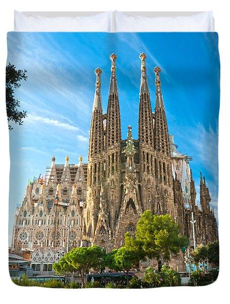 Barcelona - La Sagrada Familia Duvet Cover by Luciano Mortula