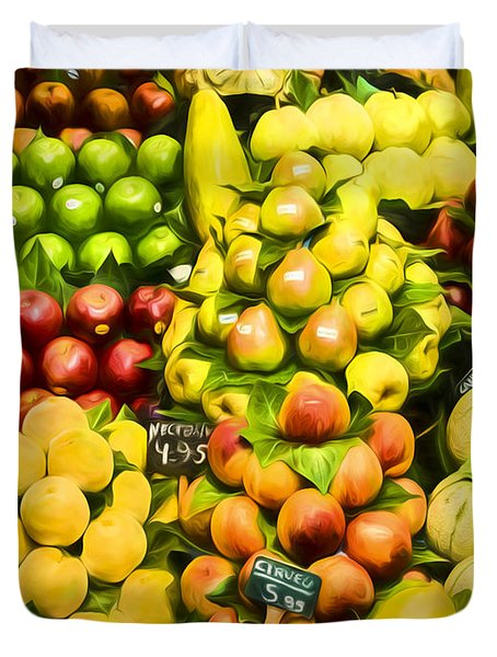 Duvet Cover featuring the photograph Barcelona Market Fruit by Steven Sparks